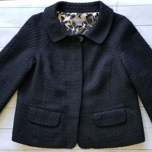 Ann Taylor Textured Black Wool Floral Lined Jacket